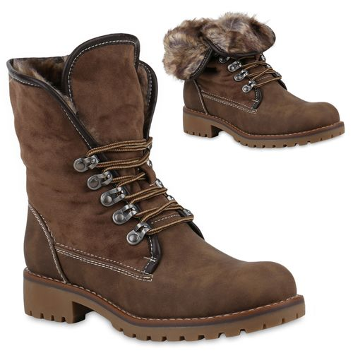 Boots Damen Worker Khaki Stiefeletten Stiefeletten Damen d7qtxIH