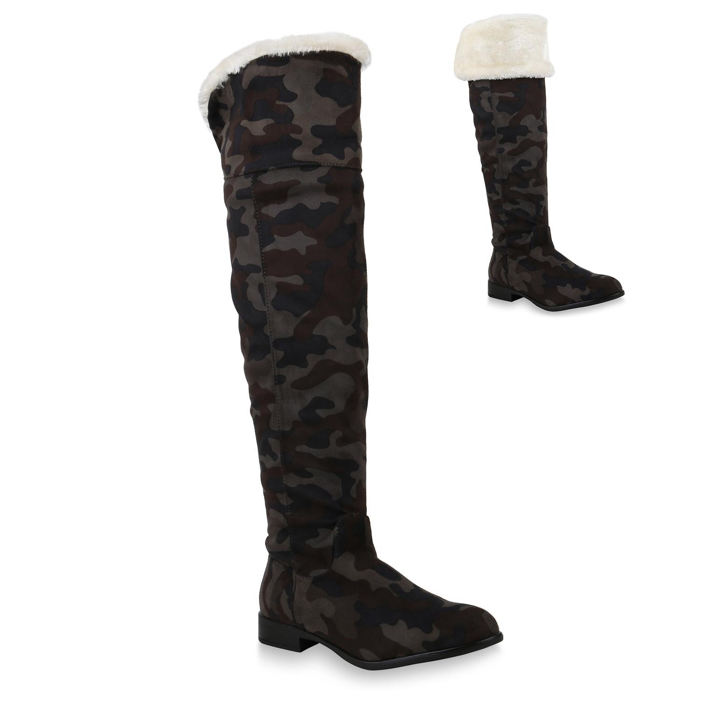 Damen Stiefel Overknees - Camouflage