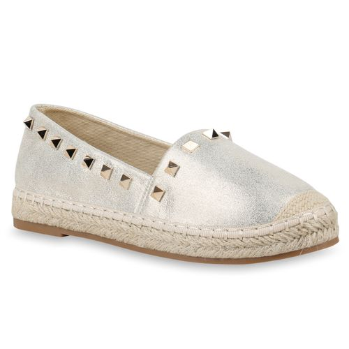 Damen Gold Slippers Damen Espadrilles Gold Slippers Espadrilles Slippers Damen xq7OAIq
