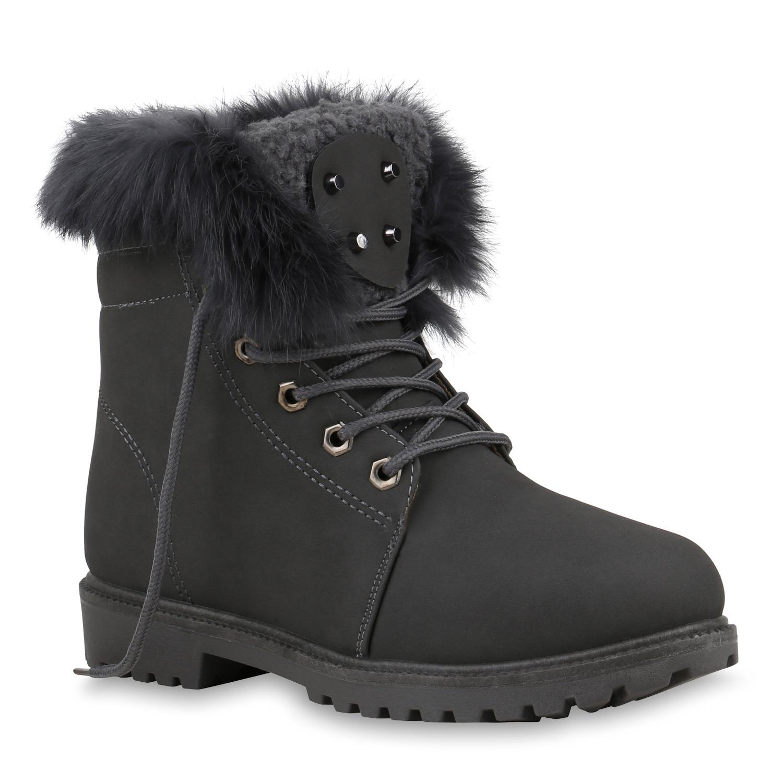 Stiefel - Damen Stiefeletten Worker Boots Grau › stiefelparadies.de  - Onlineshop Stiefelparadies