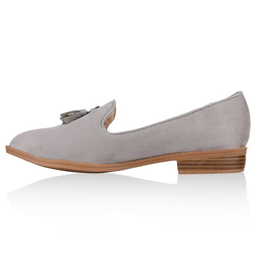 Damen Slippers Loafers - Grau