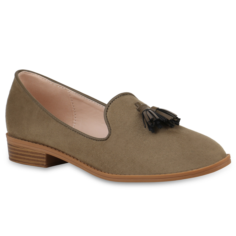 Damen Slippers Loafers - Grün
