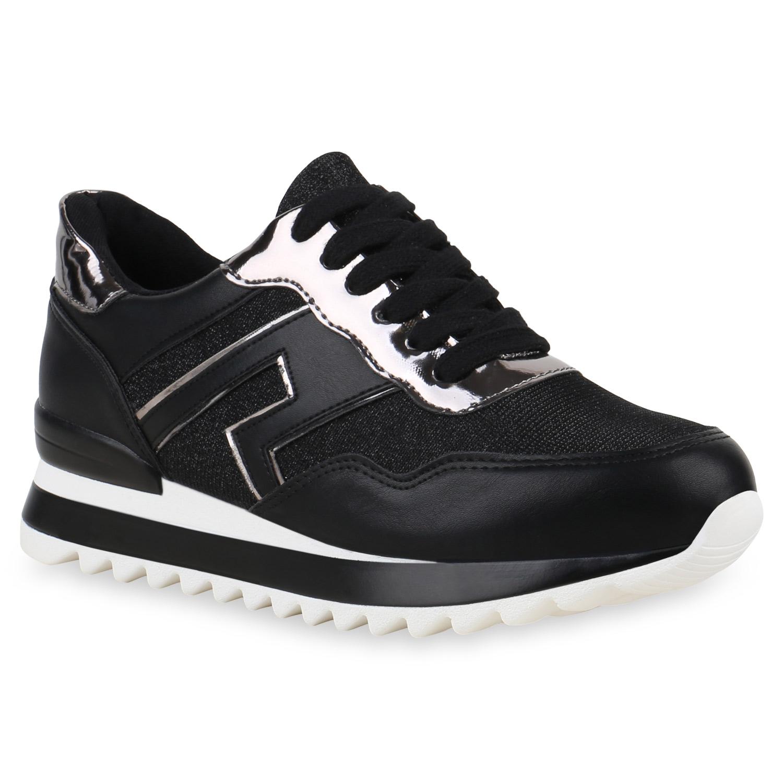 Damen Sneaker Wedges Keilabsatz Turnschuhe Metallic Lack 820535 Schuhe