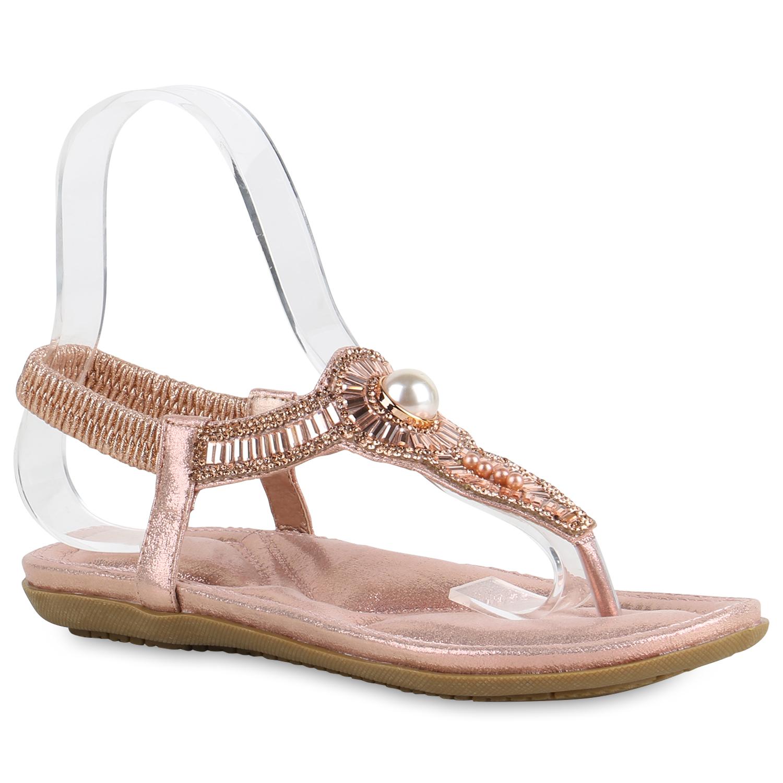 Damen Sandalen Zehentrenner - Rose Gold