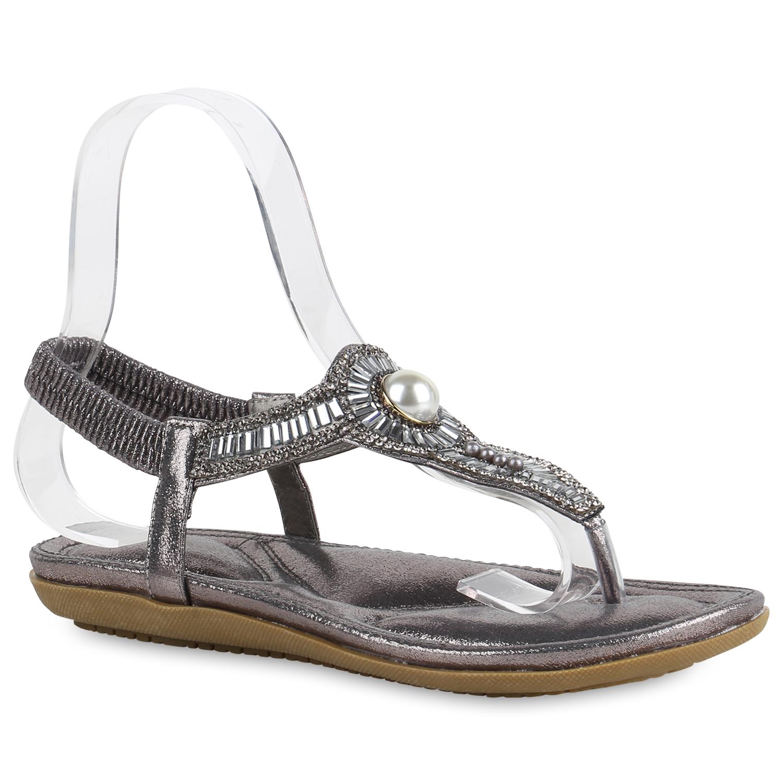 Damen Sandalen Zehentrenner - Grau Metallic