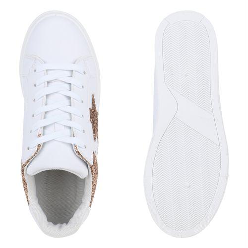 Sneaker Low Damen Gold Weiß Rose dgxfZFfwAq