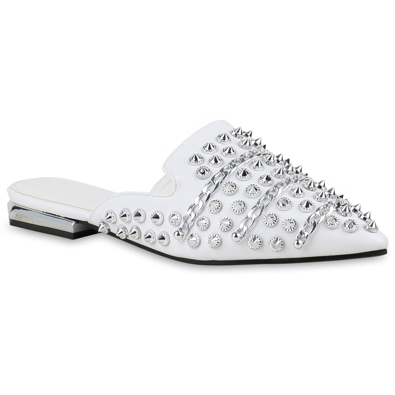 Damen Slippers Pantoletten - Weiß