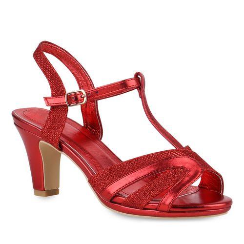 Sandaletten Damen Sandaletten Damen Rot Riemchensandaletten 4xHOfqgOw