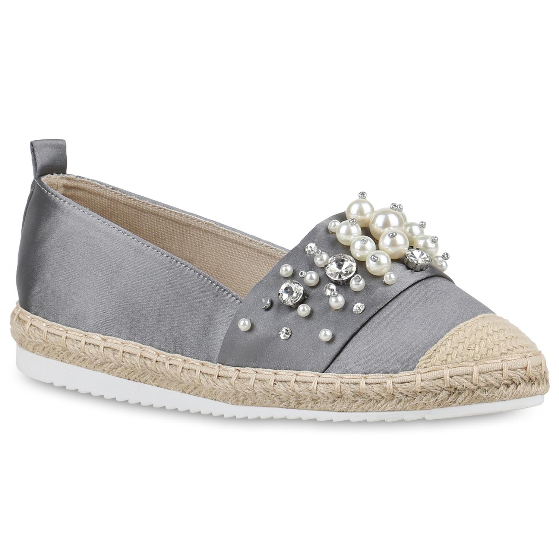 Damen Slippers Espadrilles - Grau