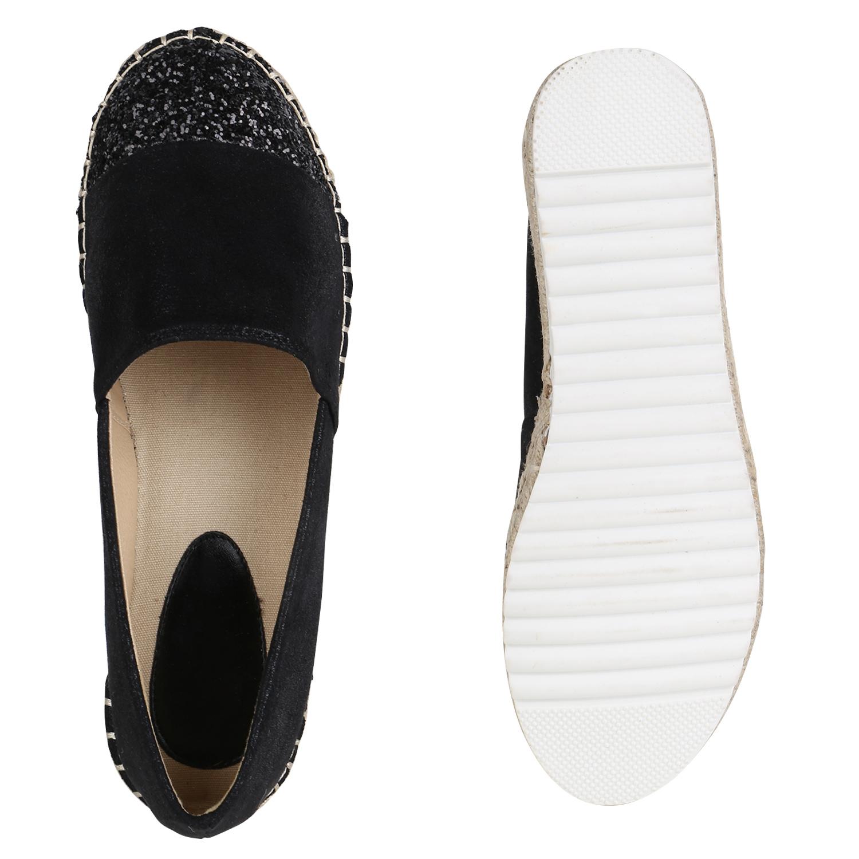 a096c9e8fae11 Details zu Damen Espadrilles Glitzer Slippers Plateau Metallic Flats 820712  Schuhe