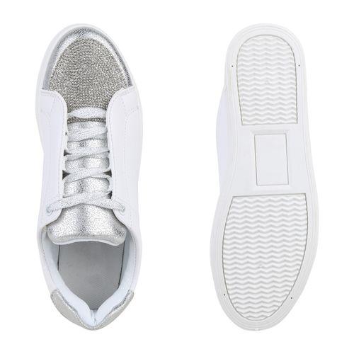 Damen Weiß Sneaker Plateau Damen Plateau Silber Sneaker 6wpZ5qp