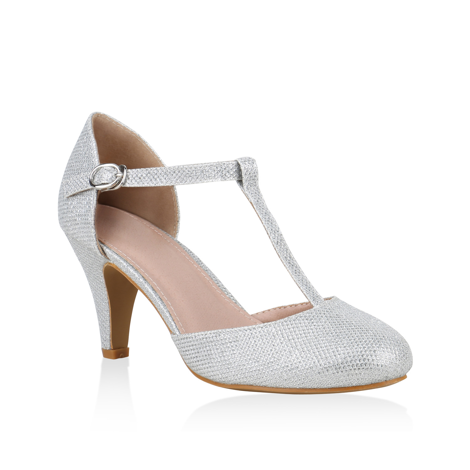 Pumps für Frauen - Damen Pumps Mary Janes Silber  - Onlineshop Stiefelparadies