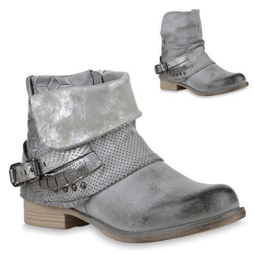 Grau Stiefeletten Damen Damen Stiefeletten Biker Boots nFXRqF