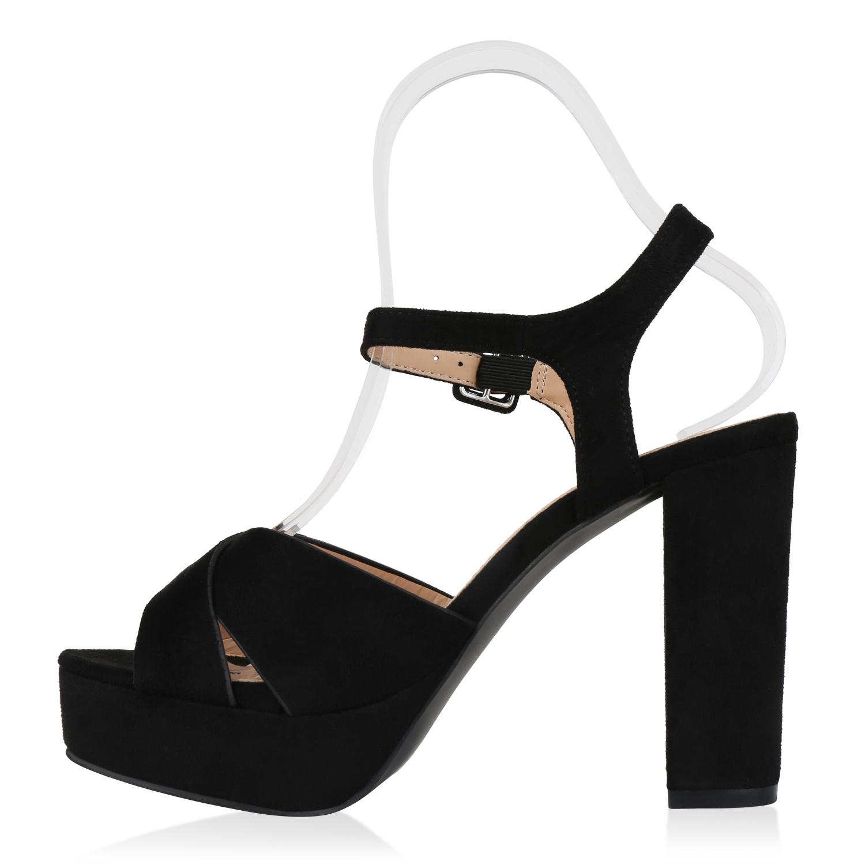 Damen Abiball Plateau Sandaletten Wildleder-Optik High Heels Hohe 820880 Schuhe