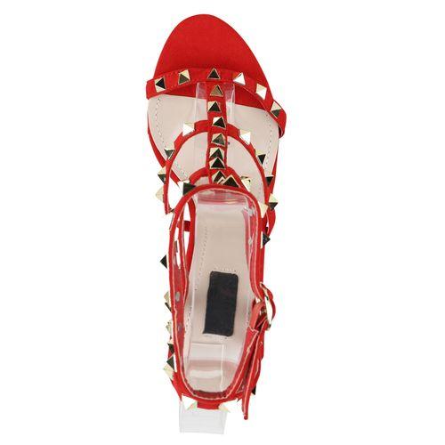 High Heels Damen Damen Sandaletten High Rot Heels Sandaletten ERzwF