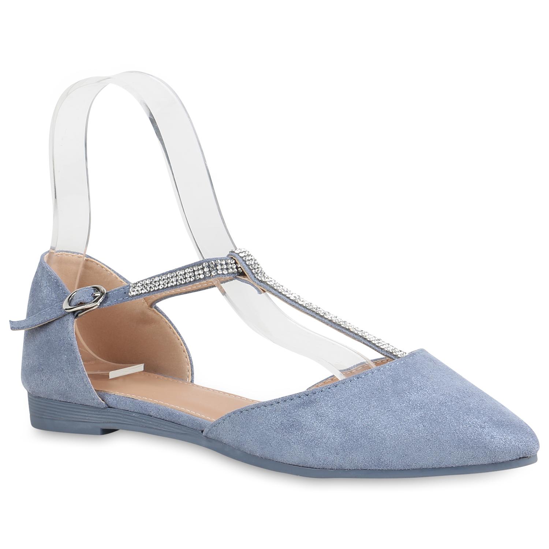 Damen Ballerinas Riemchenballerinas - Blau