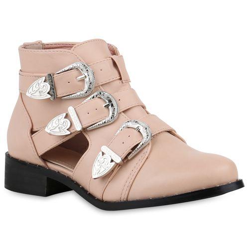 Damen Stiefeletten Ankle Boots - Rosa