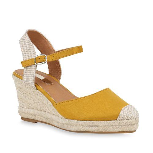 Damen Sandaletten Keilsandaletten - Gelb