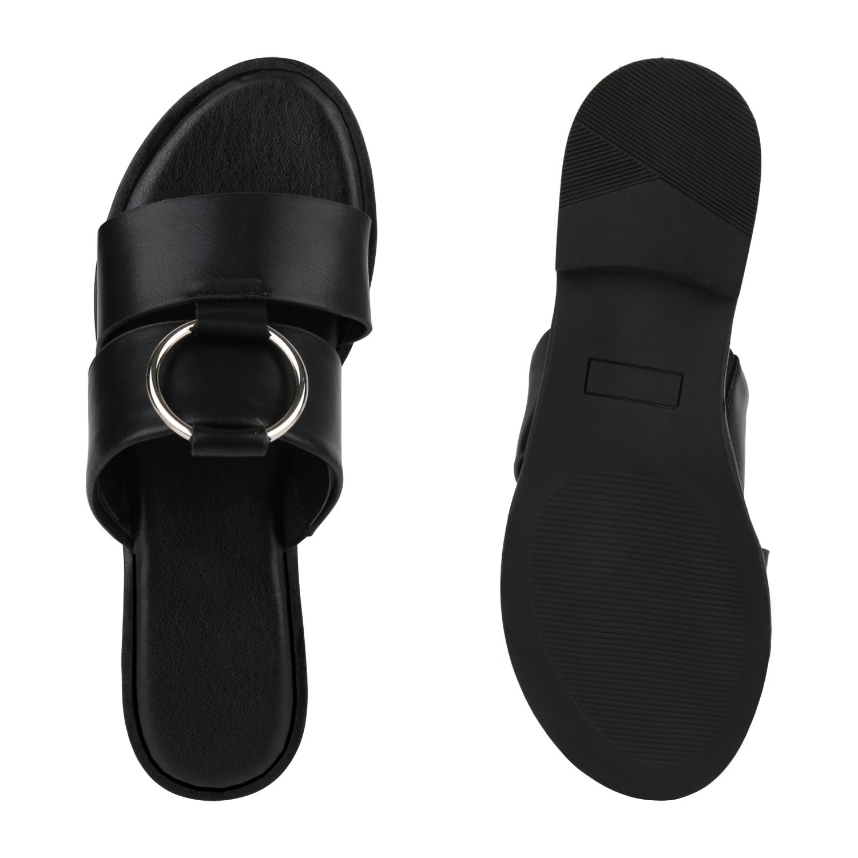 Damen Sandalen Pantoletten Sommer Schlappen Slides Metallic Flats 820962 Schuhe