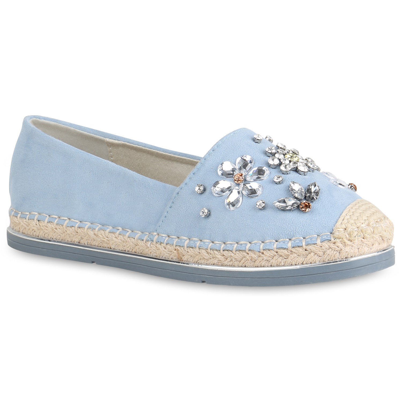 Slipper - Damen Slippers Espadrilles Hellblau › stiefelparadies.de  - Onlineshop Stiefelparadies