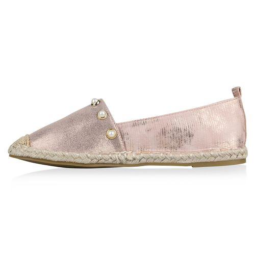 Damen Slippers Espadrilles - Rose Gold
