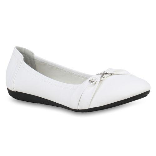 Weiß Klassische Damen Damen Ballerinas Klassische 8gwRqCW