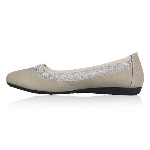 Billig Damen Schuhe Damen Ballerinas in Grau 821044514