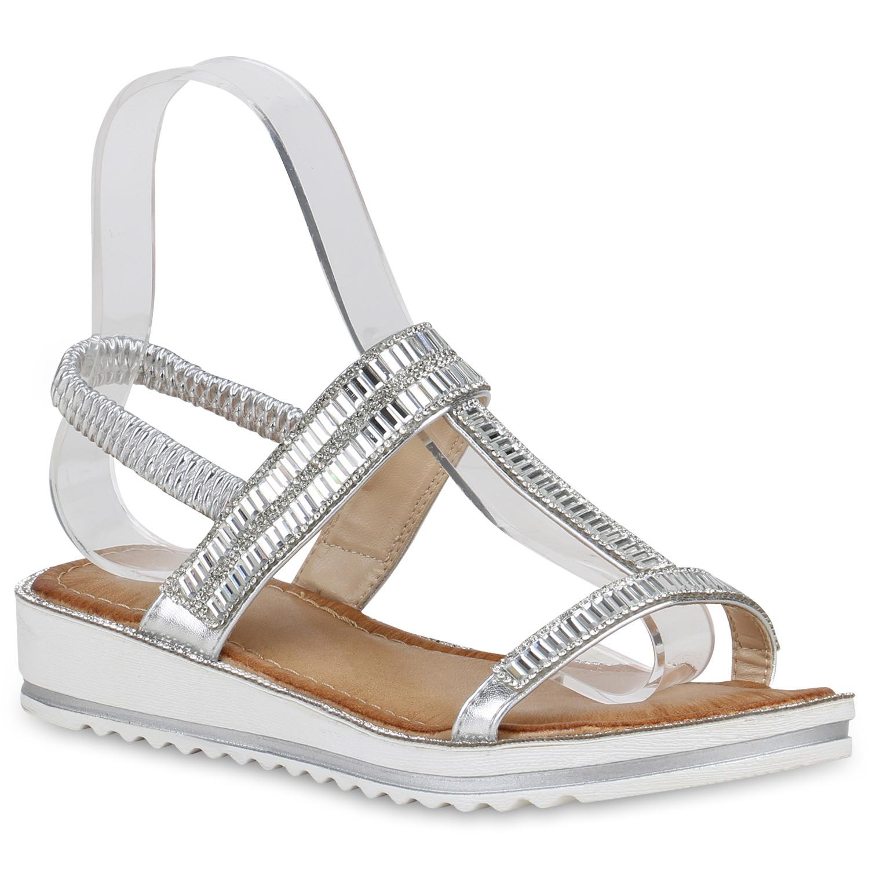 Sandalen - Damen Sandaletten Keilsandaletten Silber › stiefelparadies.de  - Onlineshop Stiefelparadies