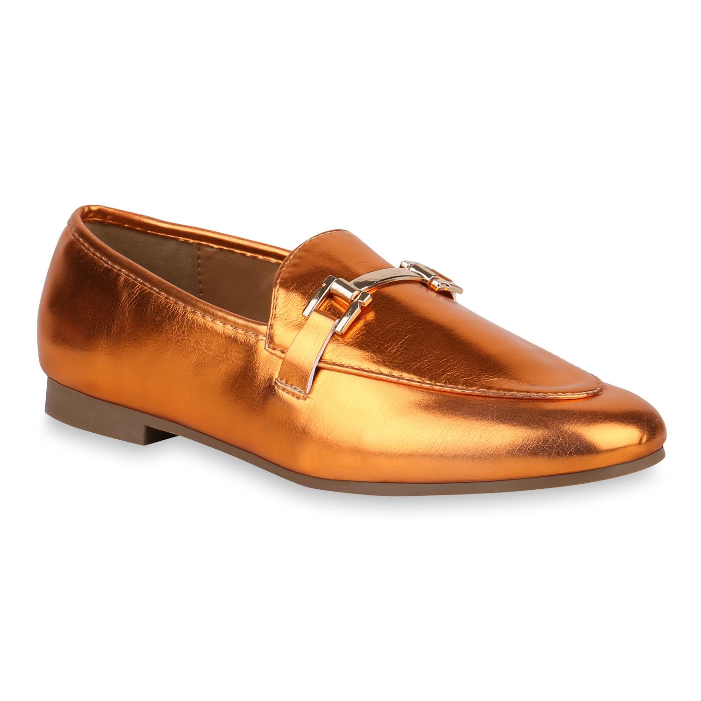 Slipper - Damen Klassische Slippers Orange Metallic › stiefelparadies.de  - Onlineshop Stiefelparadies