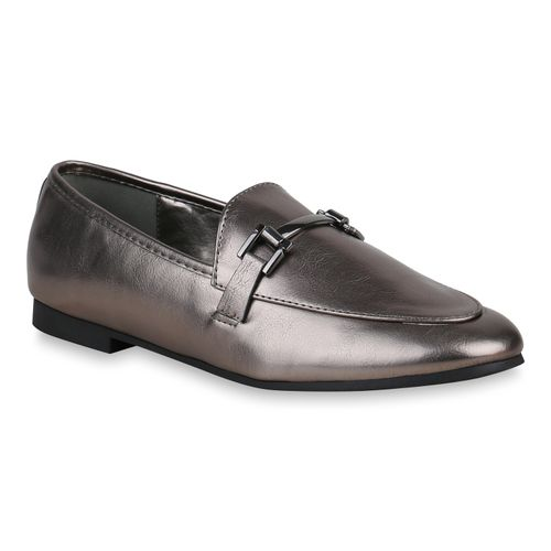 Damen Klassische Slippers - Grau Metallic