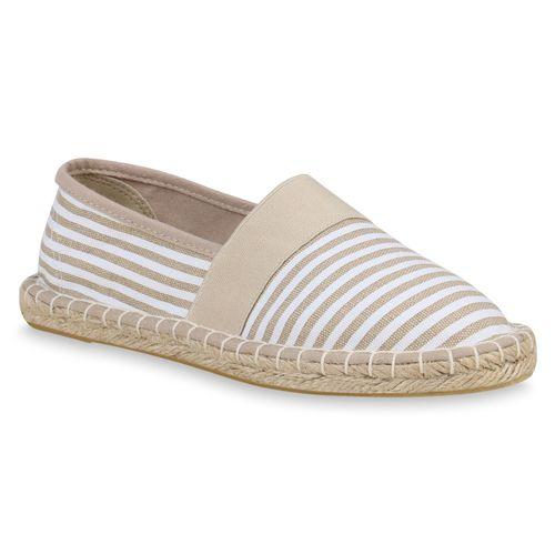 Damen Slippers Espadrilles - Creme Weiß