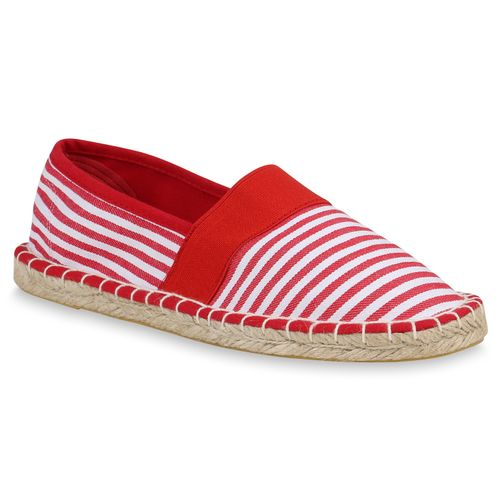 Damen Slippers Espadrilles - Rot Weiß