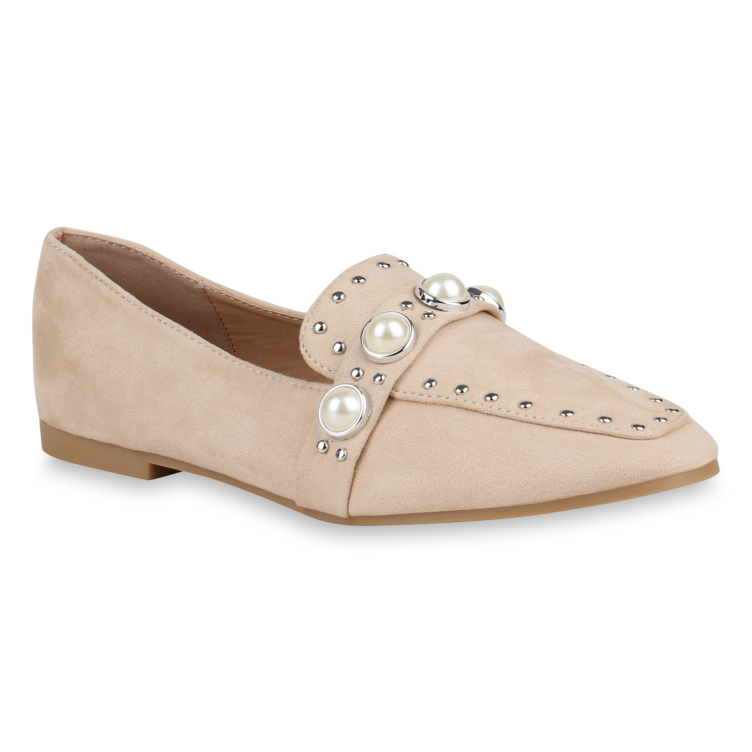 Damen Slippers Loafers - Creme