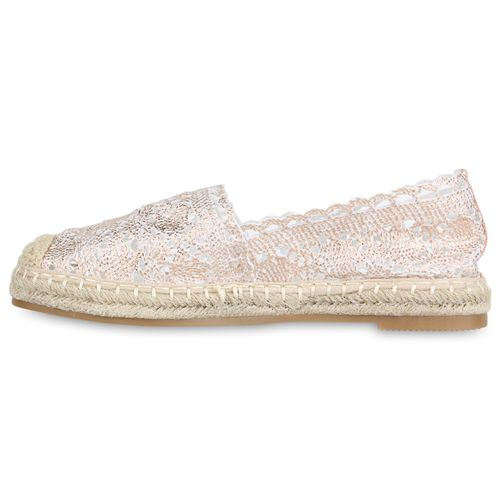 Damen Slippers Espadrilles - Rose Gold