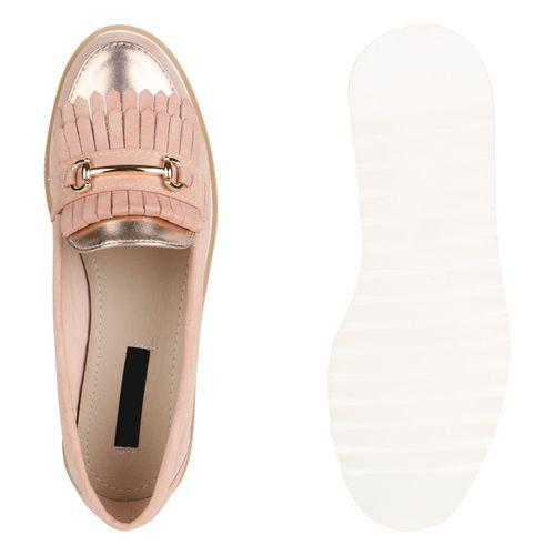 Damen Slippers Plateauschuhe - Rosa