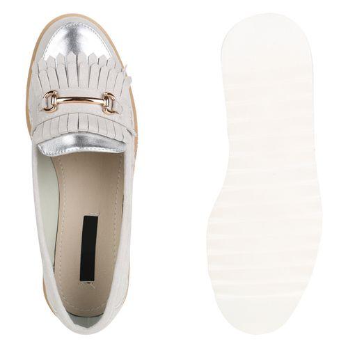 Damen Slippers Plateauschuhe - Silber