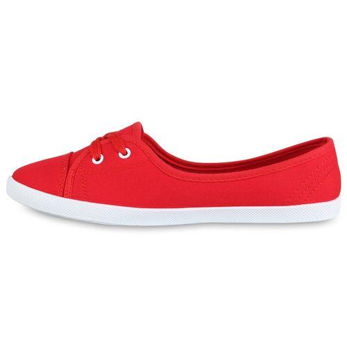 Damen Sportliche Ballerinas - Rot Weiß