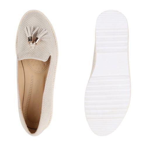 Damen Slippers Plateauschuhe - Creme