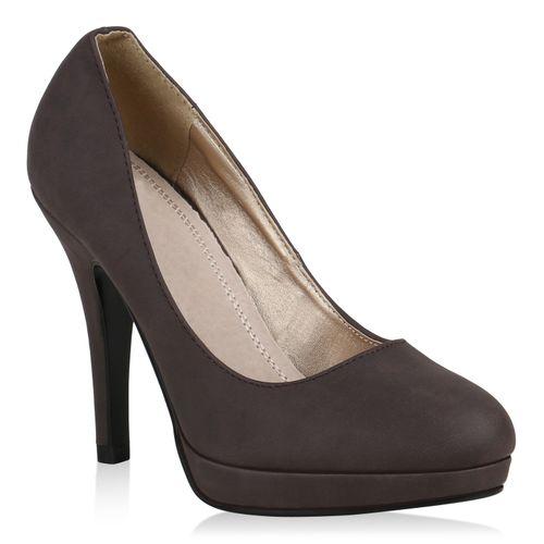 Damen Pumps High Heels - Dunkelbraun