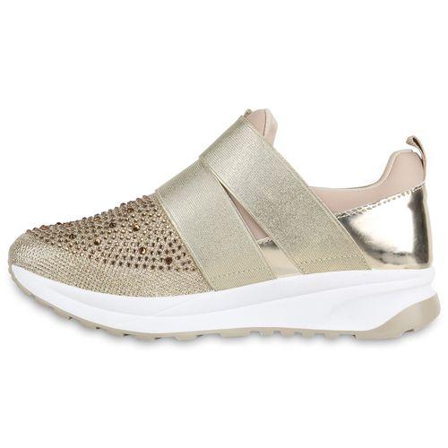 Damen Plateau Sneaker - Gold