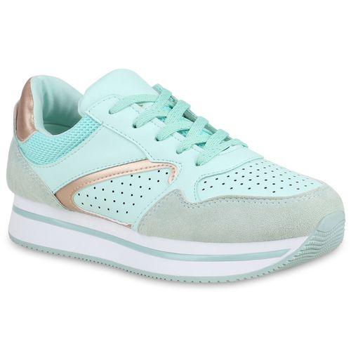 Damen Plateau Sneaker - Hellgrün