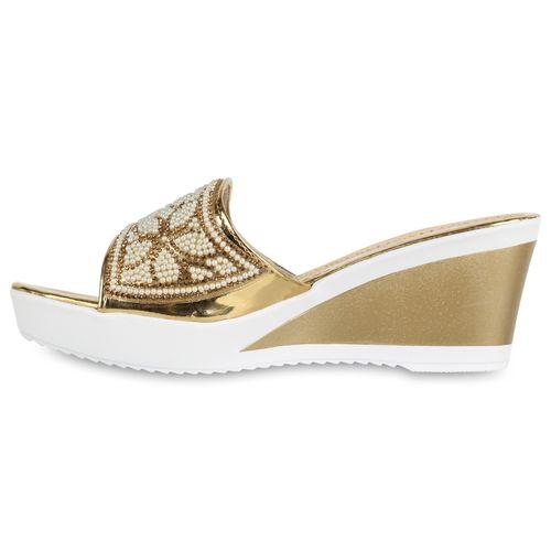 Sandaletten Gold Pantoletten Pantoletten Damen Sandaletten Damen 6wng1S