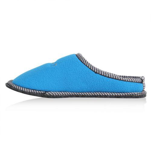 Damen Hausschuhe Pantoffeln - Blau
