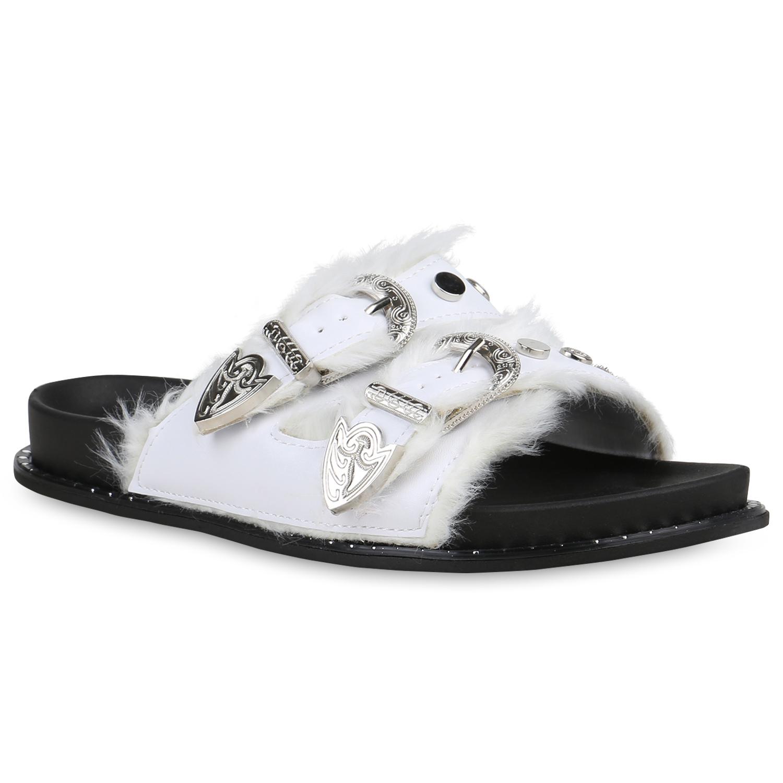 Damen Sandalen Pantoletten - Weiß