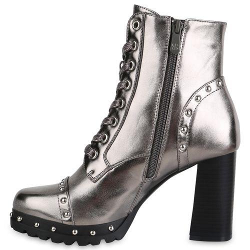 Damen Stiefeletten Schnürstiefeletten - Grau Metallic