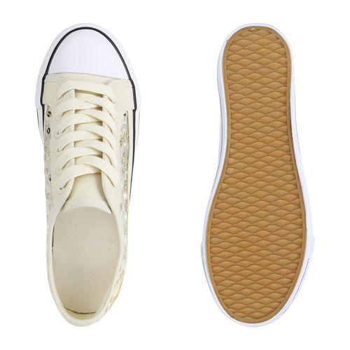Damen Plateau Plateau Creme Sneaker Sneaker Damen Creme UIvOqwExU