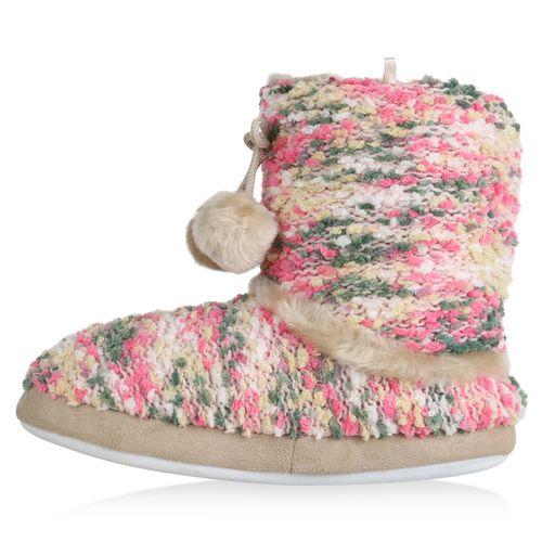 Damen Hausschuhe Pantoffeln - Rosa Grün