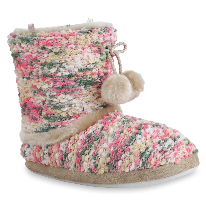 Hausschuhe - Damen Hausschuhe Klassische Hausschuhe Rosa Grün › stiefelparadies.de  - Onlineshop Stiefelparadies