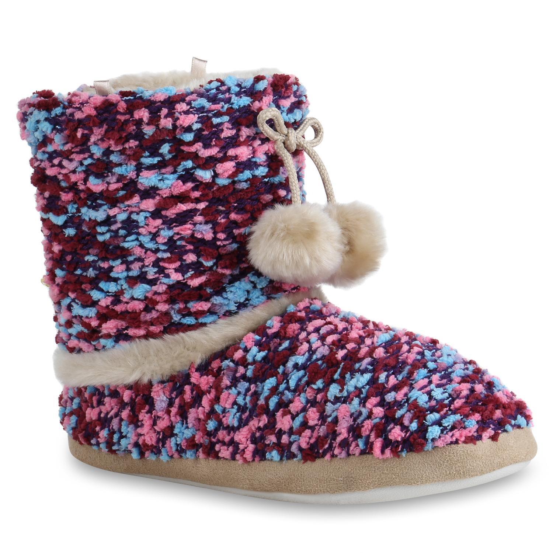 Damen Hausschuhe Pantoffeln - Hellblau Lila