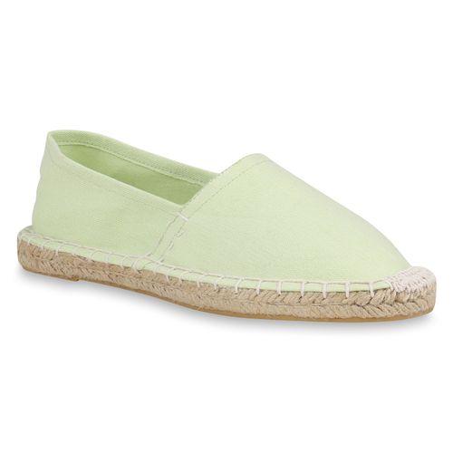 Damen Slippers Espadrilles - Hellgrün